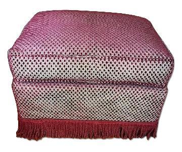 Burgundy Upholstered Ottoman