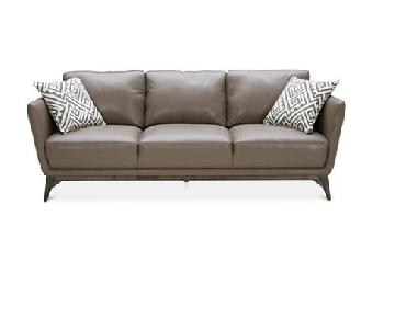 Macy's Kourtney Leather Grey Side Quilted Sofa