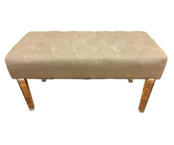 Grey Tufted Bench/Ottoman with Acrylic Legs