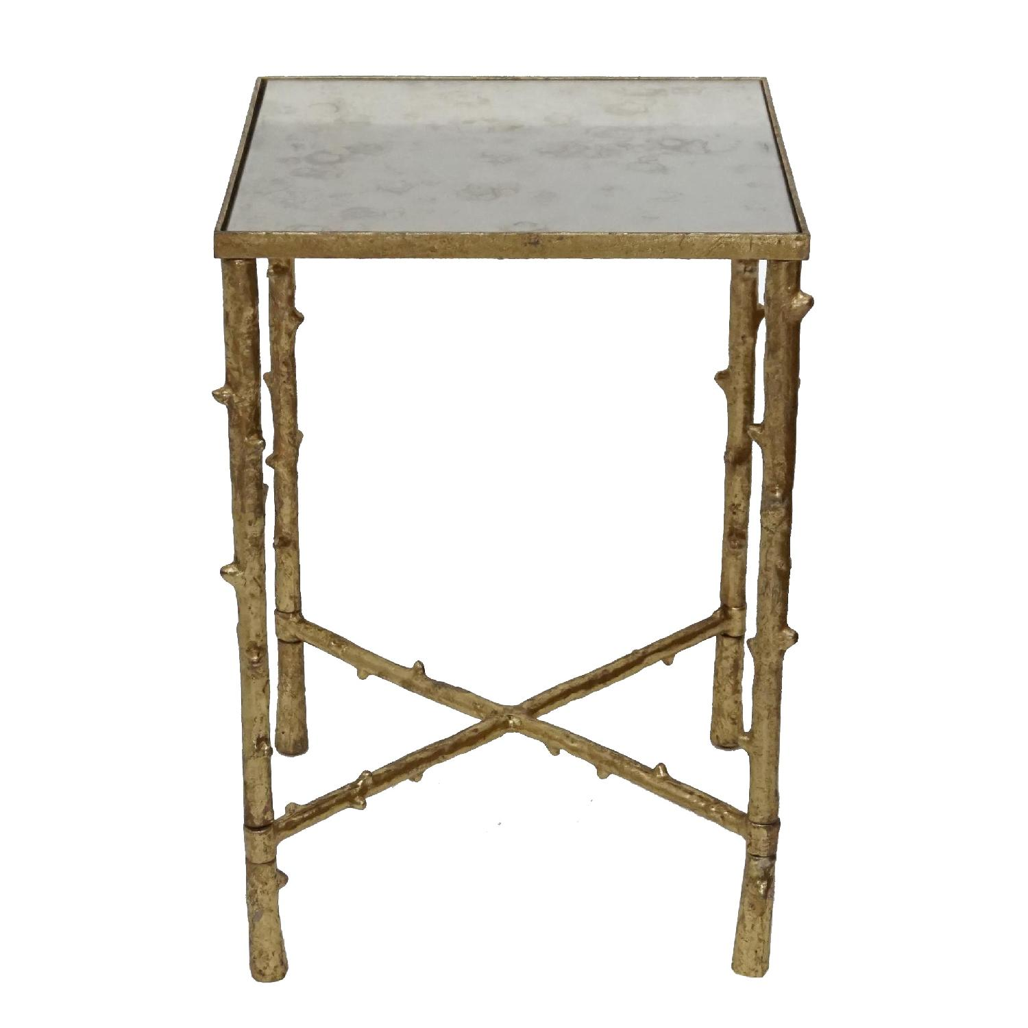 Contemporary Square Side Table w/ Iron Glass Top
