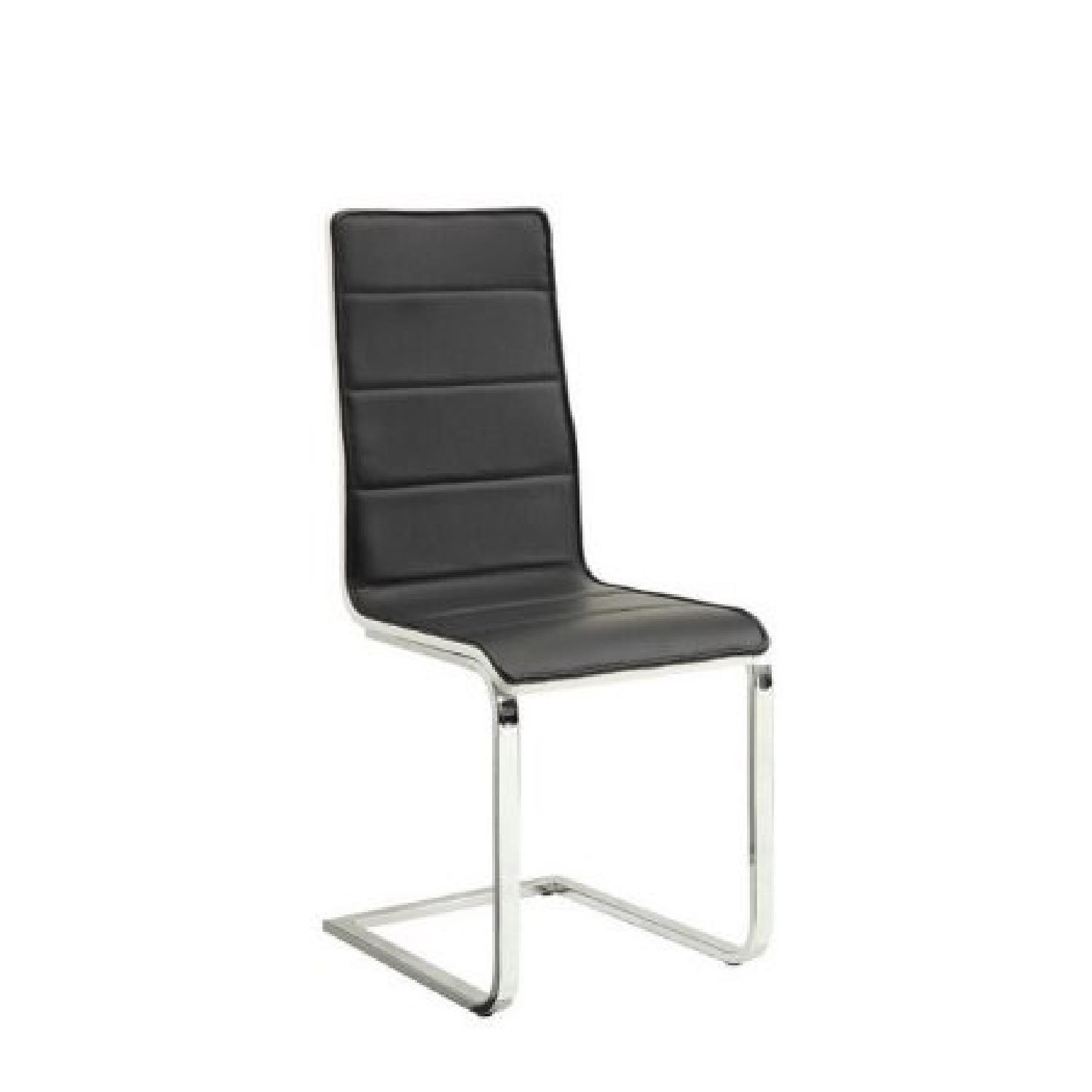 Dining Chair Upholstered in Black Leatherette
