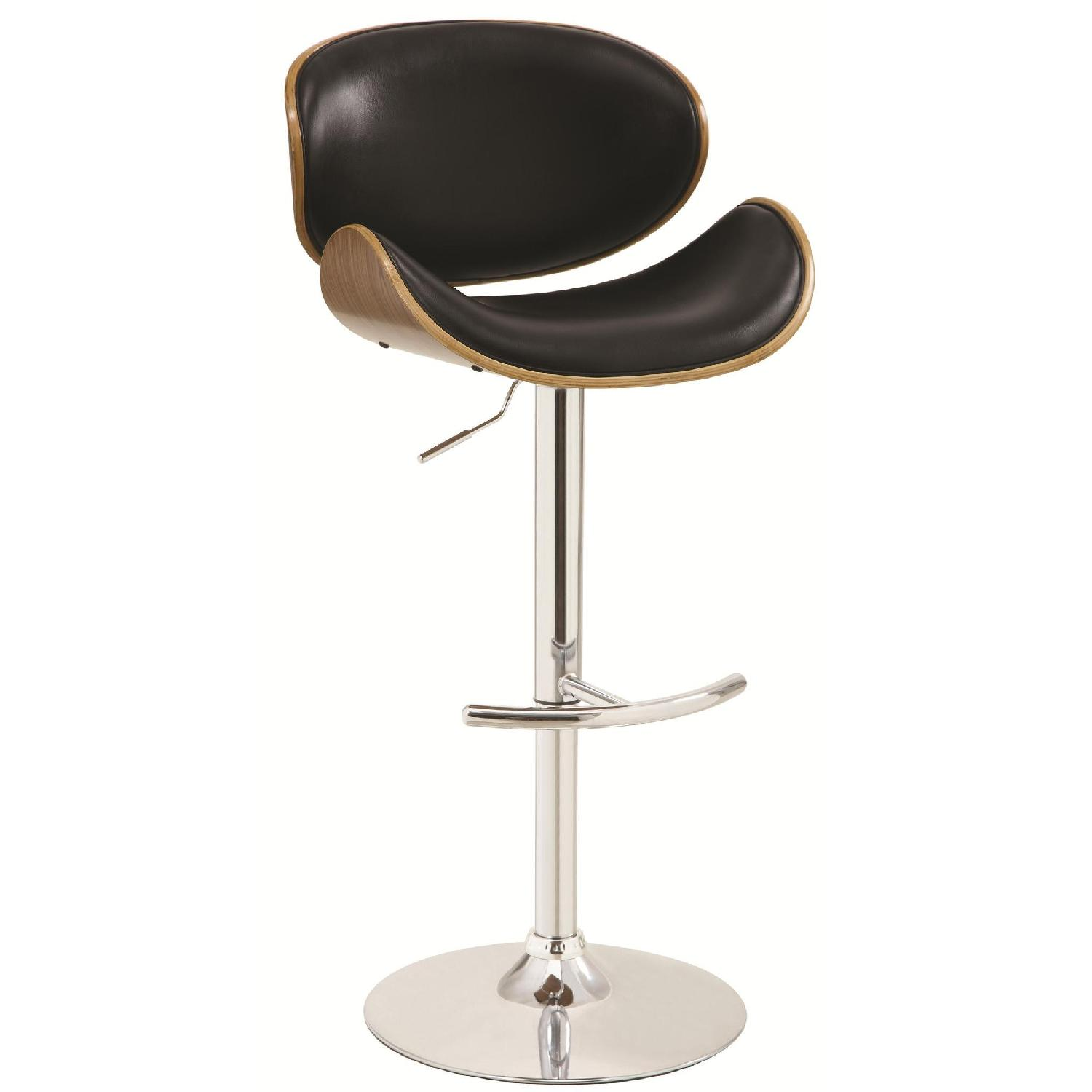 Adjustable Bar Stool Black W Wood Back Aptdeco
