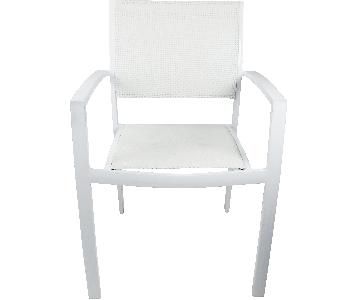 White Powder Coated Metal Chairs w/ Mesh Seats/Back