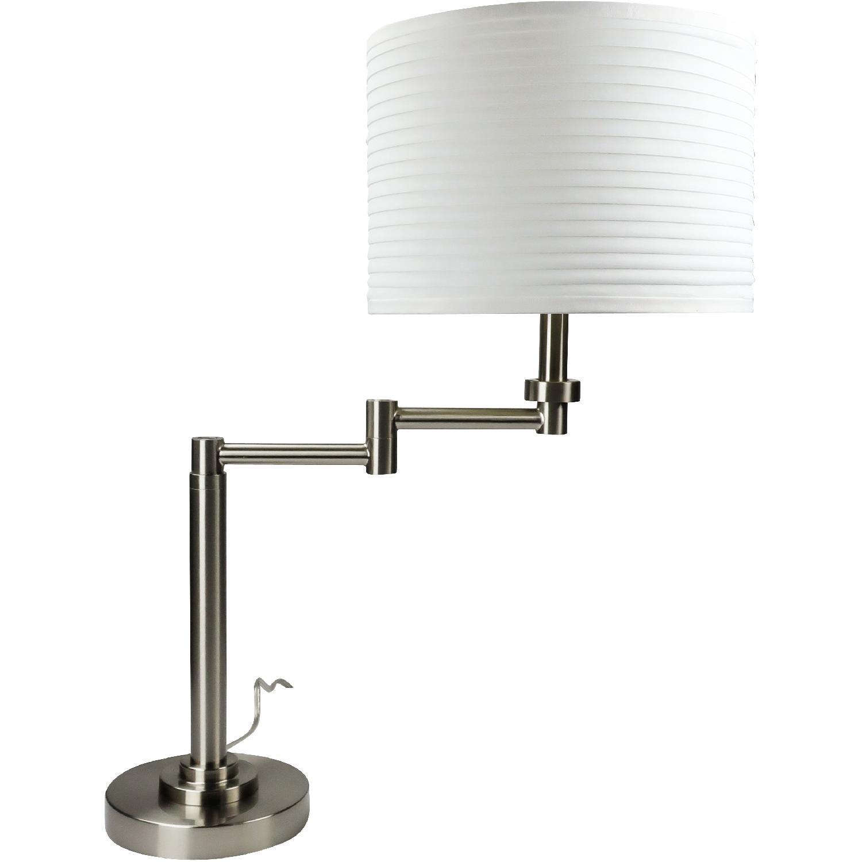 Brushed Nickel Swing Arm Table Lamp W White Drum Shade Aptdeco