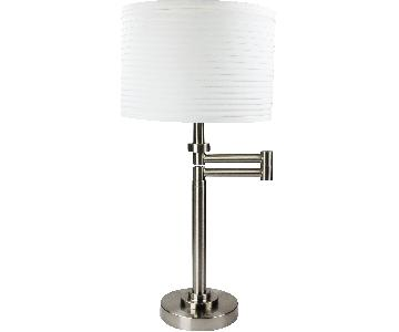 Brushed Nickel Swing Arm Table Lamp w/ White Drum Shade