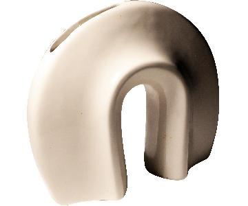 1980s Haeger White Horseshoe Vase
