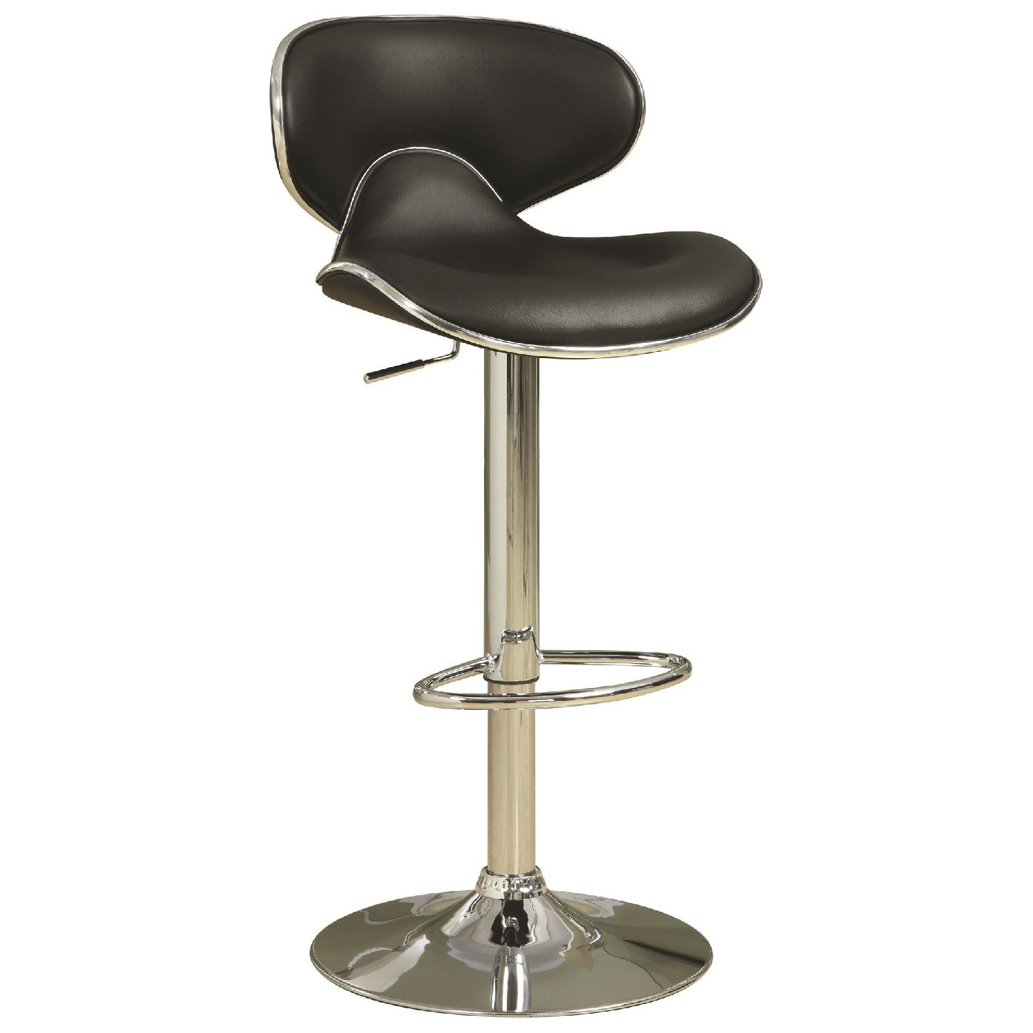 Adjustable Black Seat Chrome Base Bar Stool Aptdeco