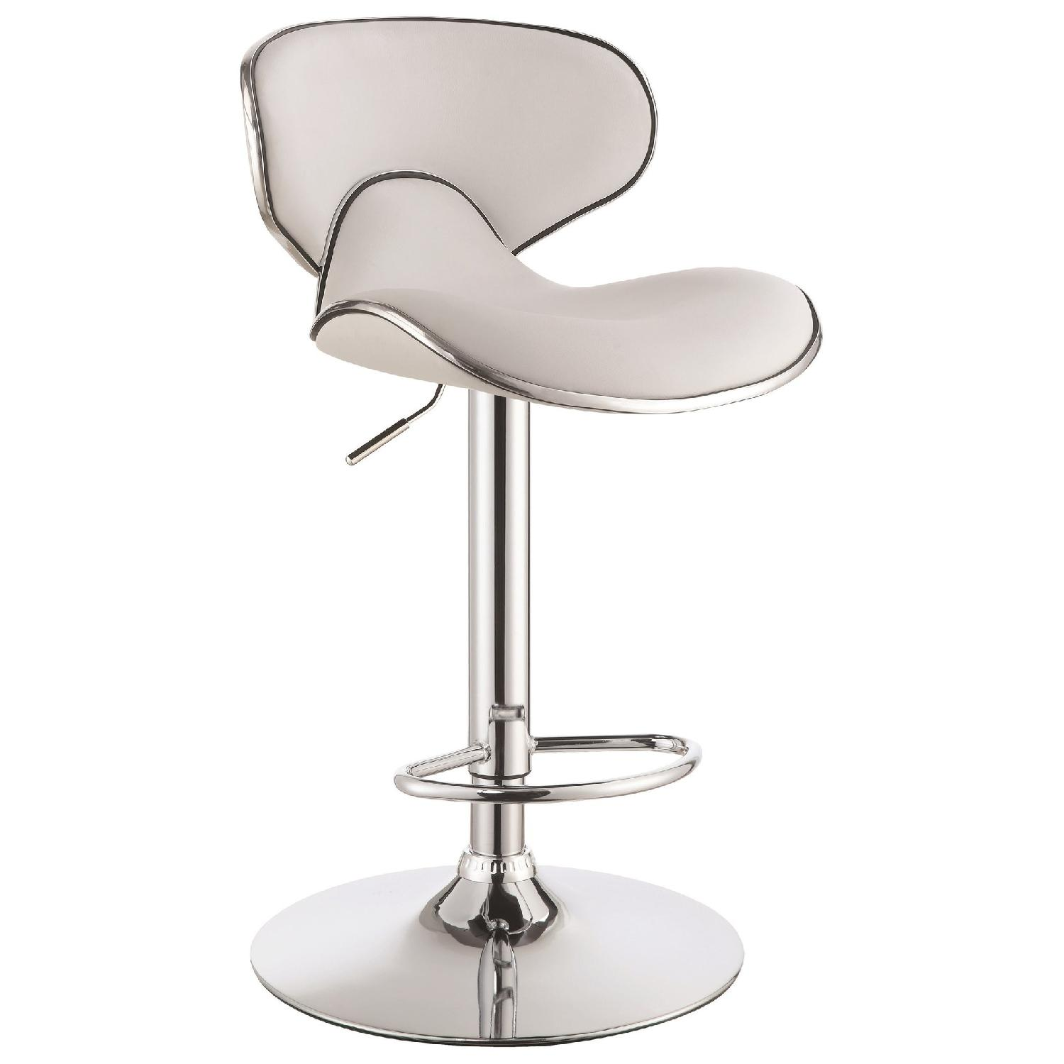 Adjustable White Seat Chrome Base Bar Stool