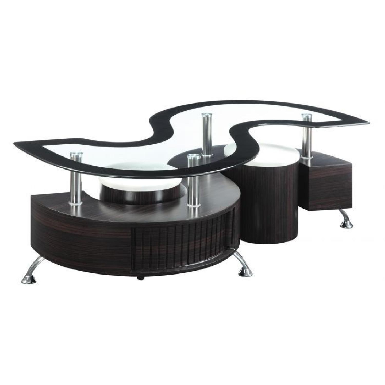 Cuppuccino Glass Top Coffee Table with Stool