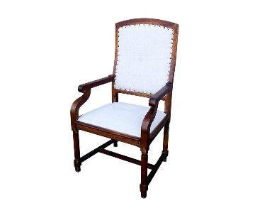 French Louis XIII Style Restored Walnut Throne Chair
