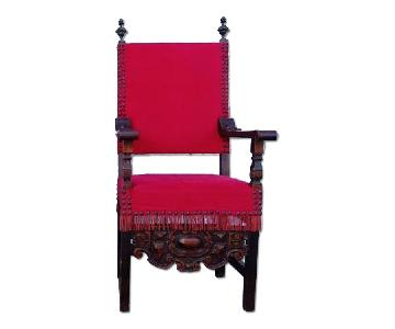 Large Louis XIII Style Straight Back Throne Armchair