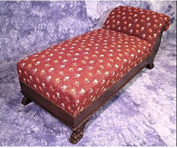19th C Antique Needlepoint Oak Victorian Chaise Lounge