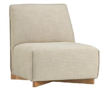 CB2 Banquina Slipper Chair in Natural Linen