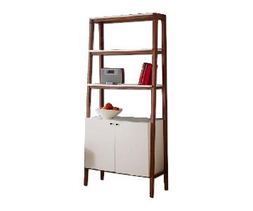 West Elm Modern Wall Bookcase in Pecan and White Lacquer
