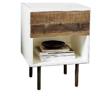 West Elm Reclaimed Wood Storage Nightstand in White Lacquer