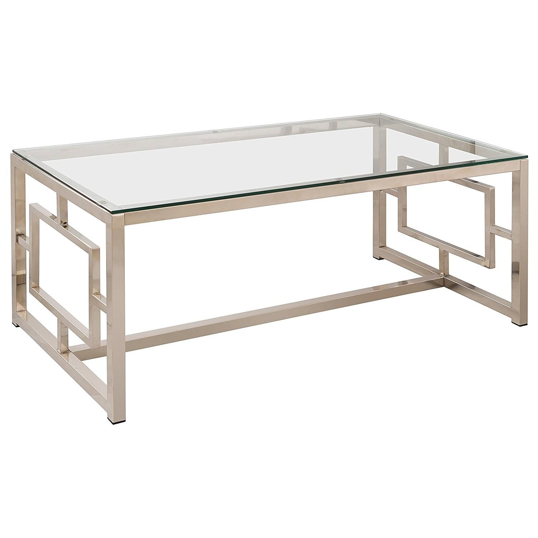 Satin Plated Metal Glass Top Coffee Table