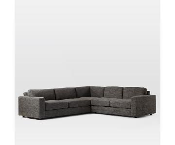 West Elm Urban 2Seater Sectional in Heathered Tweed Charcoal