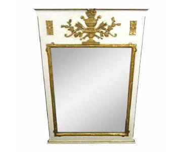 Antique French Neoclassical White Carved Gilt Wood Mirror