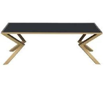 Black Glass Top Coffee Table with Brushed Brass Legs