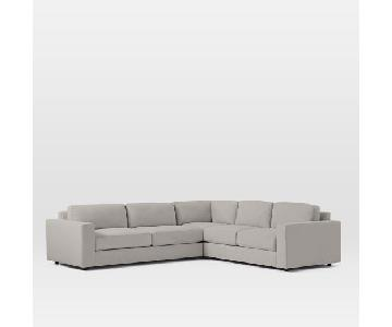 West Elm Urban 3-Seater Sectional, Ash Gray Microfiber