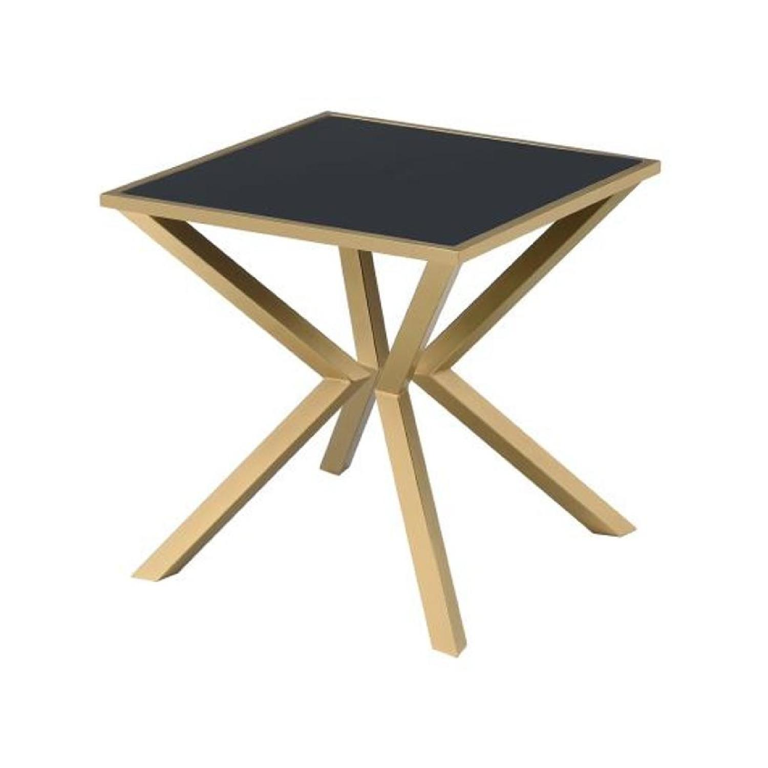 Black Glass Top End Table with Brushed Brass Legs