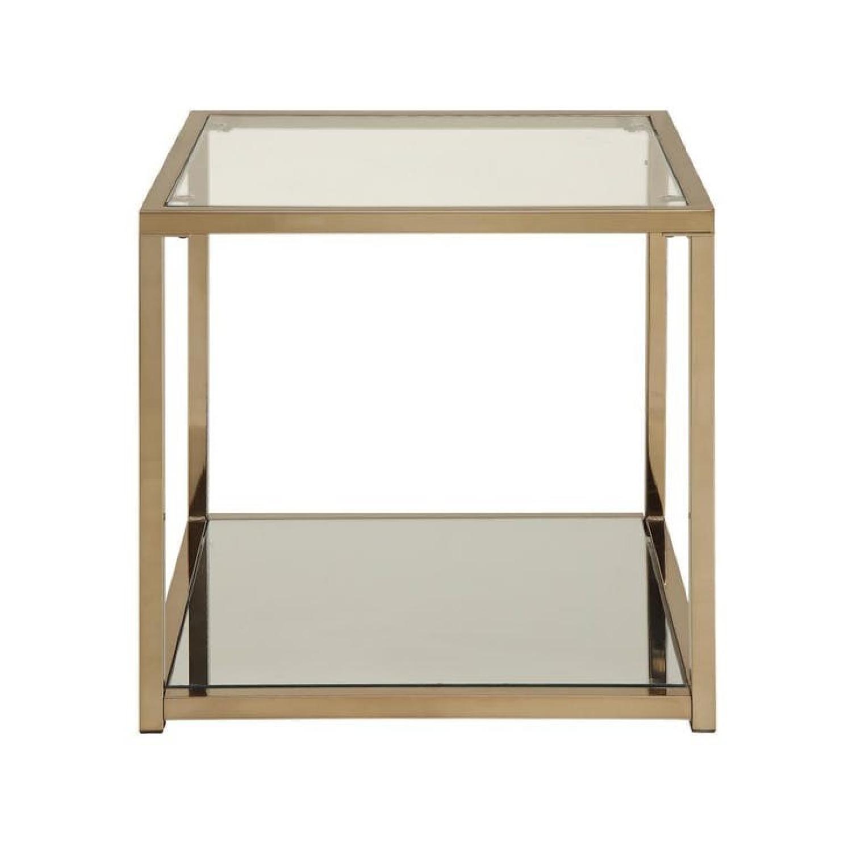 Chocolate Chrome Glass Top End Table