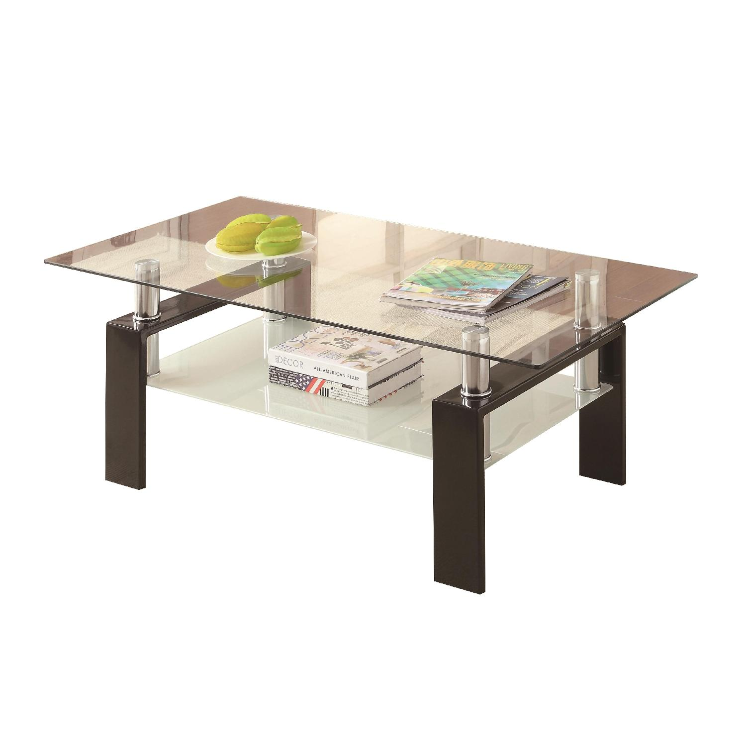 Tempered Glass with Black Metal Legs Coffee Table