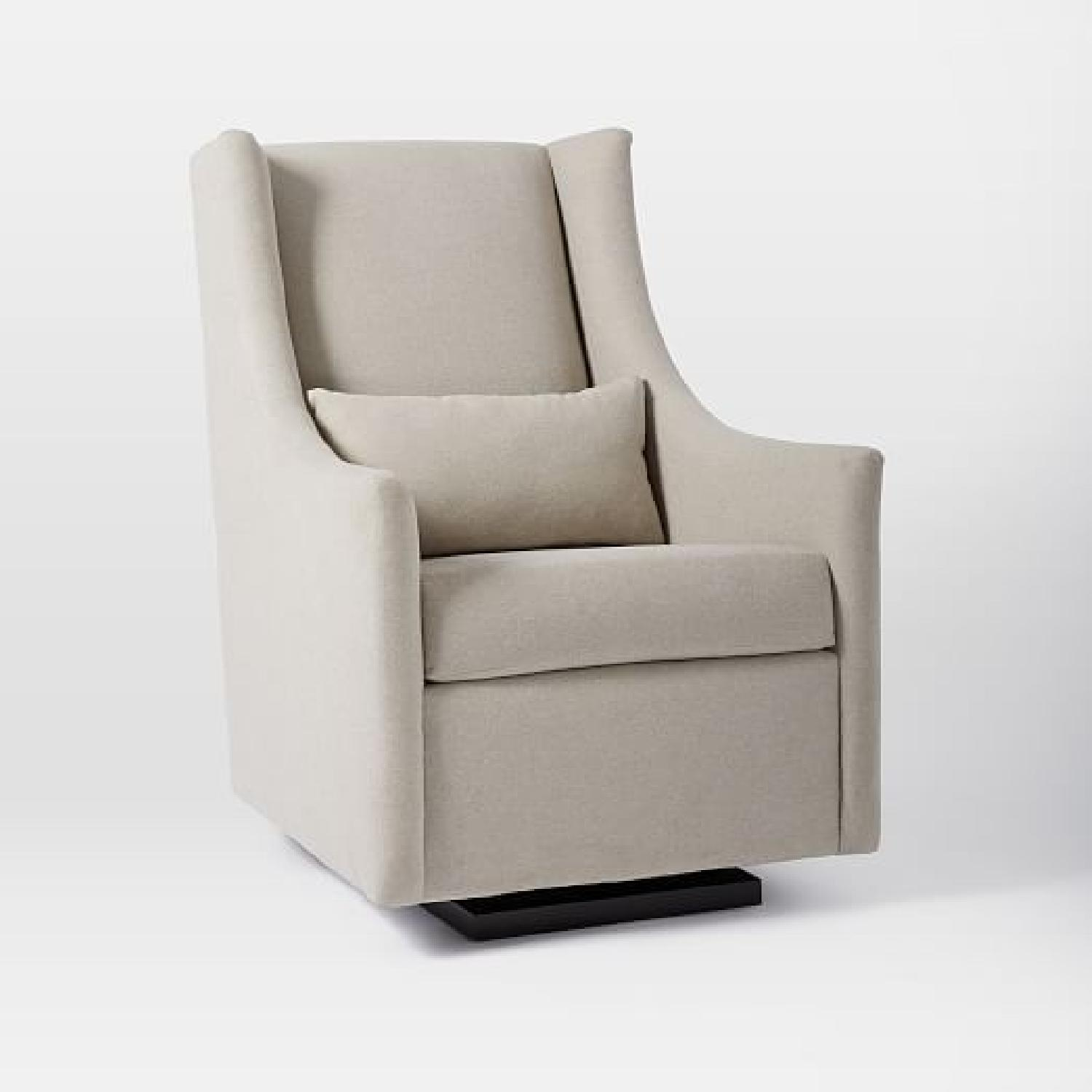 west elm graham glider in dove gray performance velvet aptdeco. Black Bedroom Furniture Sets. Home Design Ideas
