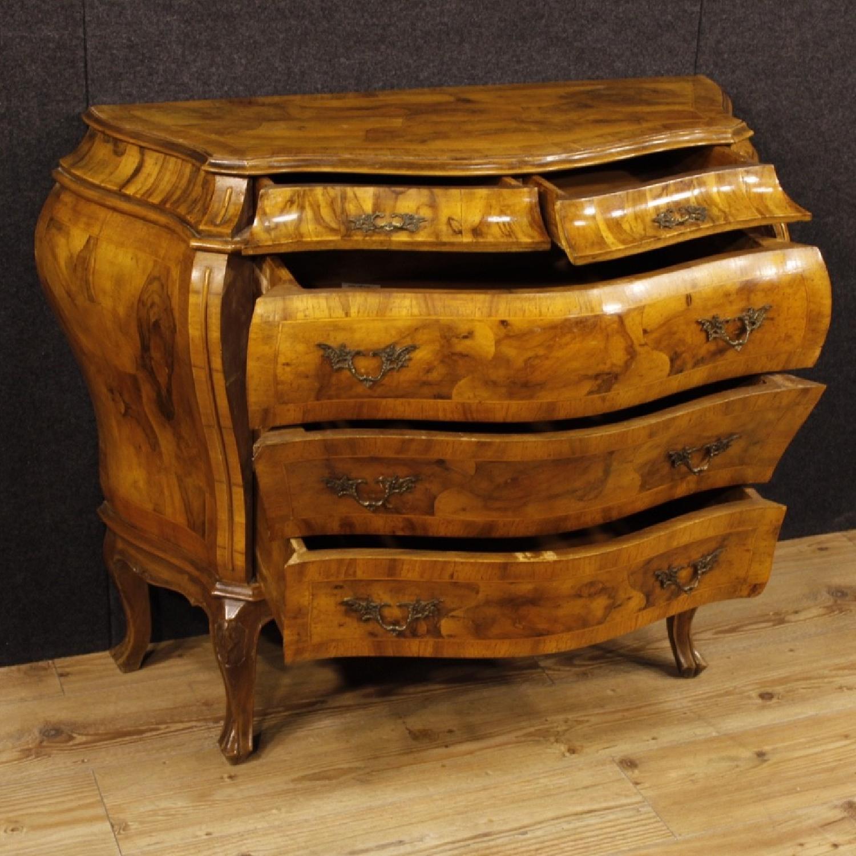 Venetian 5 Drawer Dresser In Walnut & Burl Wood-0