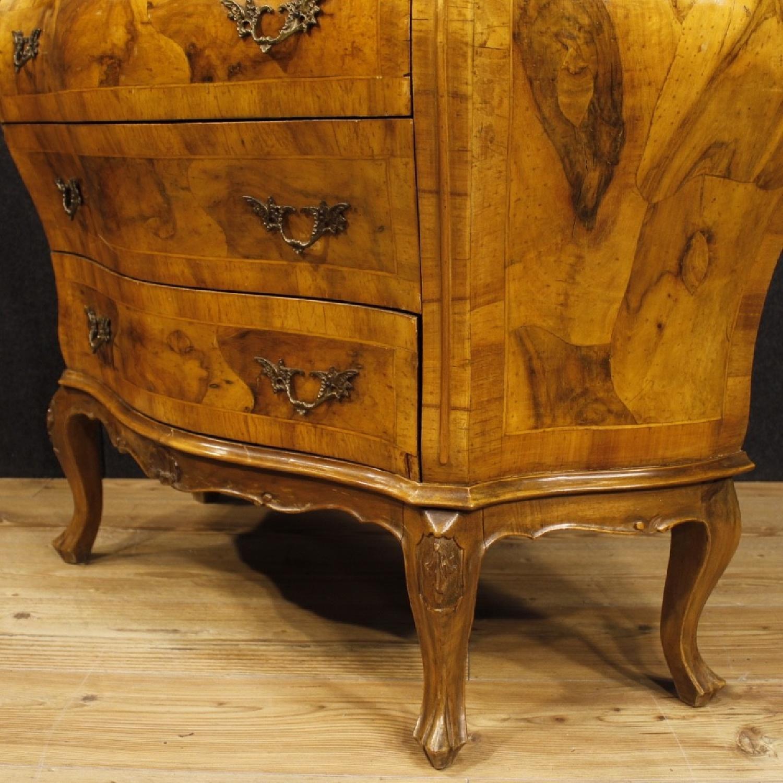 Venetian 5 Drawer Dresser In Walnut & Burl Wood-4