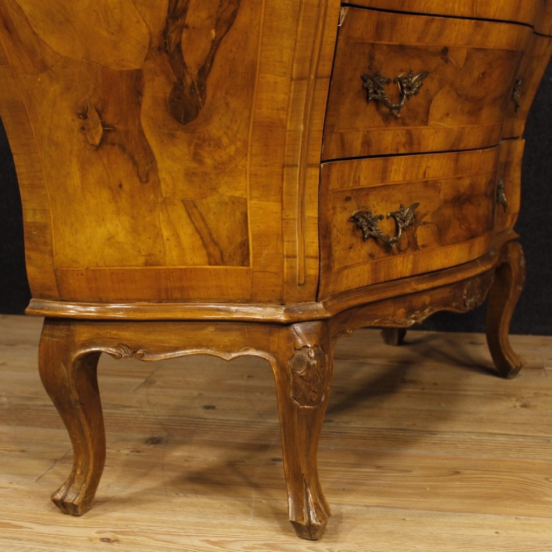 Venetian 5 Drawer Dresser In Walnut & Burl Wood-7