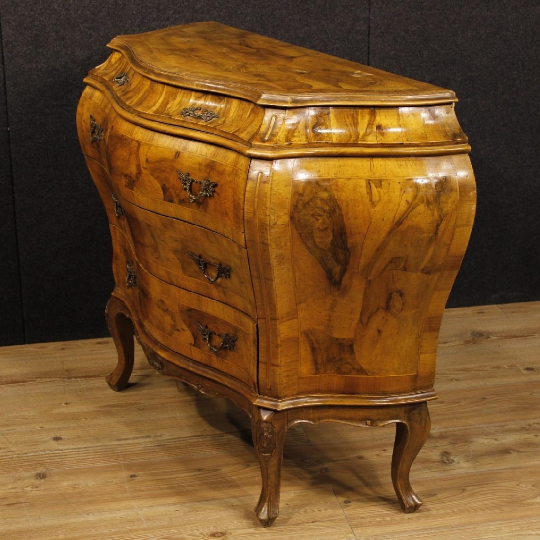 Venetian 5 Drawer Dresser In Walnut & Burl Wood-11