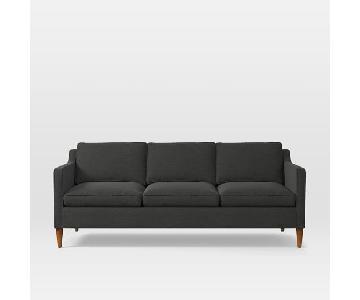 West Elm Hamilton 3 Seater Sofa in Dark Grey Worn Velvet