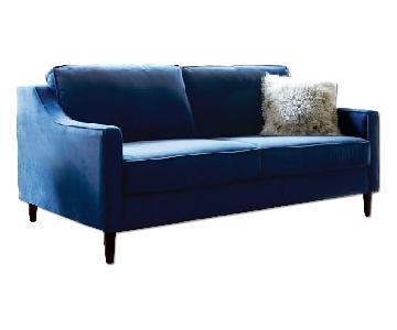 West Elm Paidge Sofa w/ Legs in Ink Blue Performance Velvet