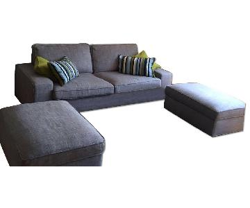 IKEA Light Grey Sofa w/ Two Ottomans