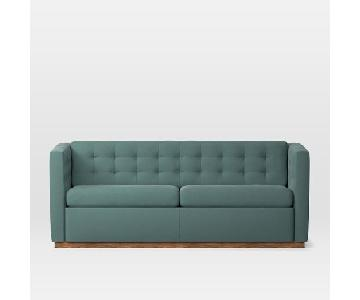West Elm Rochester Sleeper in Dusty Teal Pecan Velvet