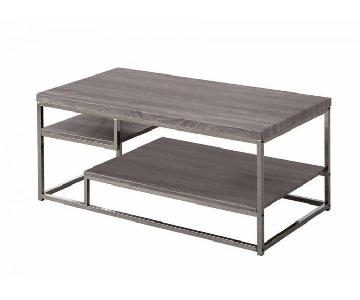 Dark Grey Chrome Frame 2 Shelf Coffee Table