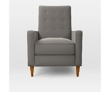 West Elm Rhys Recliner in Dove Gray Performance Velvet