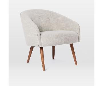 West Elm Eve Linen Chair in Platinum Weave