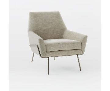 West Elm Lucas Wire Base Chair in Platinum Linen Weave