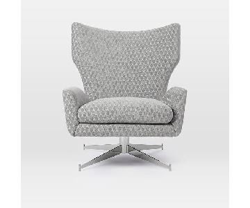 West Elm Hemming Leather Swivel Armchair in Gem Cut Chenille