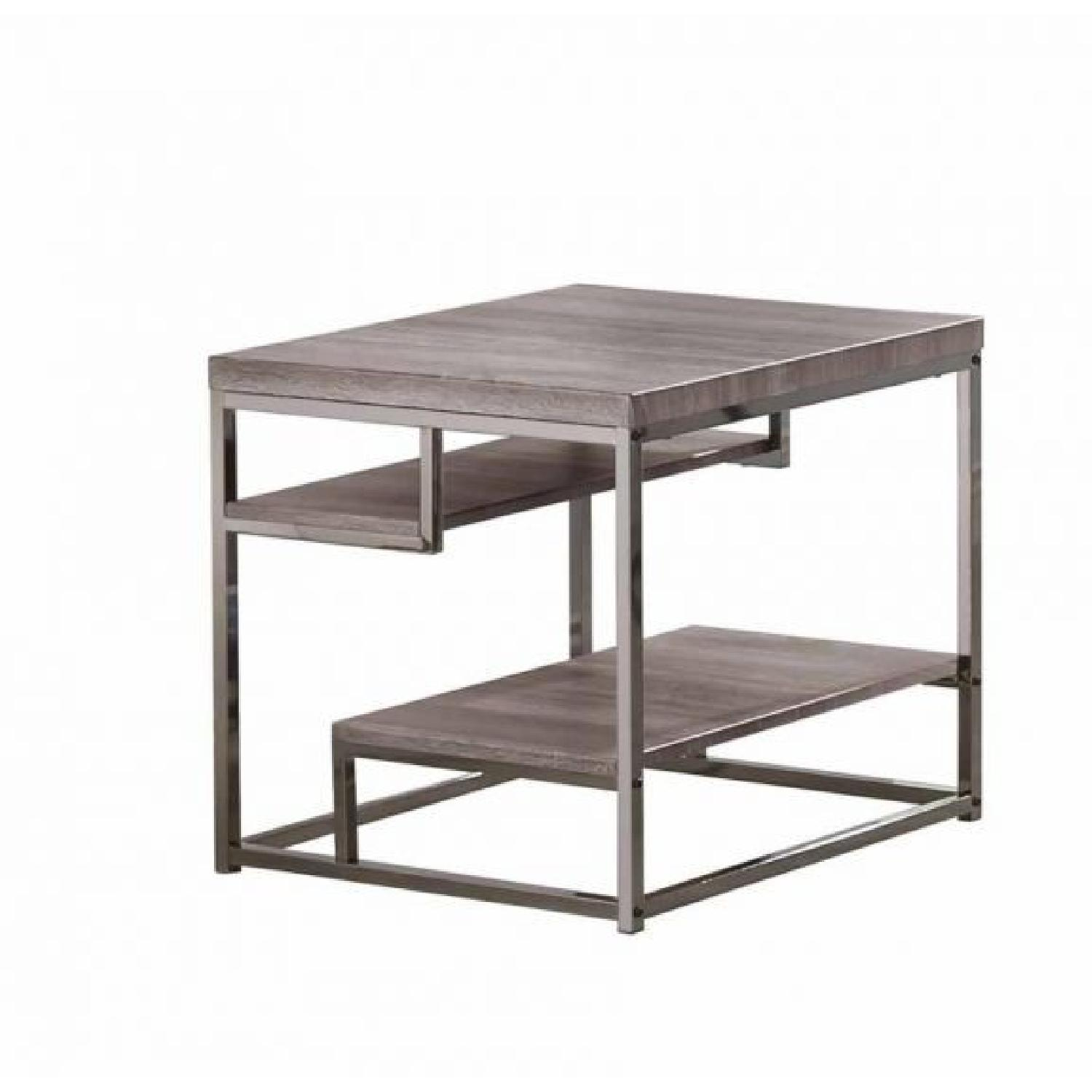 Dark Grey Chrome Frame 2 Shelf End Table
