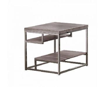 Dark Grey Chrome Frame 2 Shelf End Table