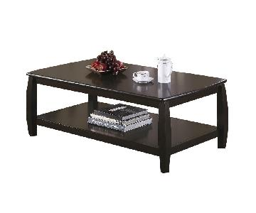Coffee Table with 1 Shelf in Cappuccino