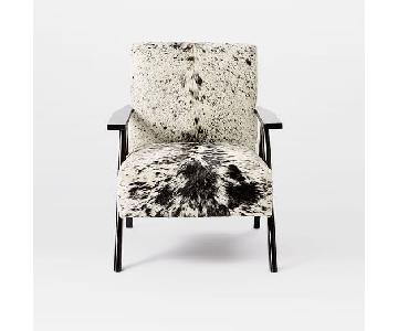 West Elm Retro Cowhide Armchair in Black + White