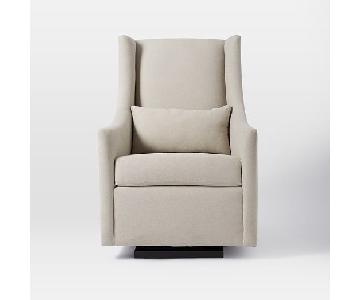 West Elm Graham Glider in Dove Gray Performance Velvet