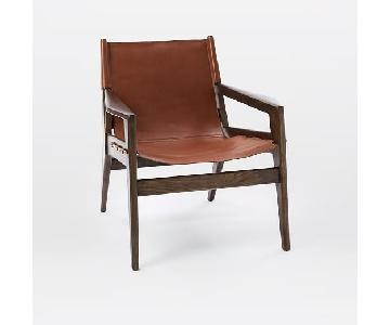 West Elm Felipe Sling Chair in Mineral Leather Russet