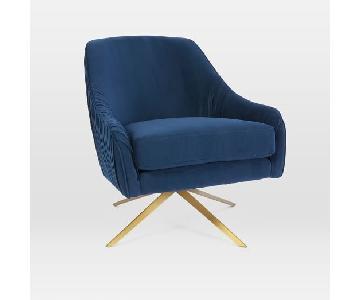 West Elm Roar + Rabbit Glamour Chair Ink Performance Velvet