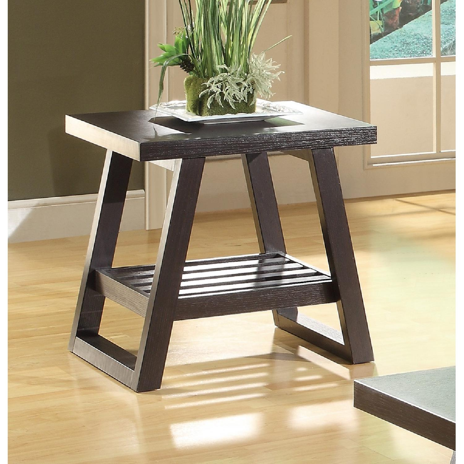 Cappuccino End Table with Slatted Bottom Shelf-0