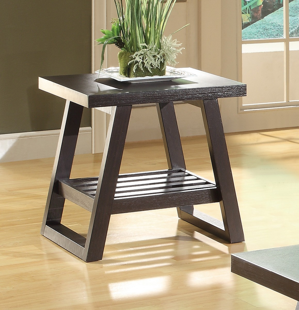 Cappuccino End Table with Slatted Bottom Shelf